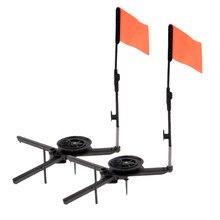 2x leve pesca no gelo tip-ups abs round tip-up com bandeira laranja inverno vara de pesca no gelo acessórios de pesca tackles