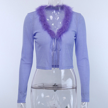 Purple Feathers Front Lace Up 5