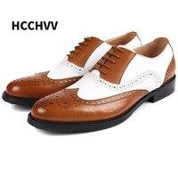 Mens Black White Dress Shoes Spectator Oxfords Men Shoes Brown White Euro Business Gents Suits Brogue Shoes men's