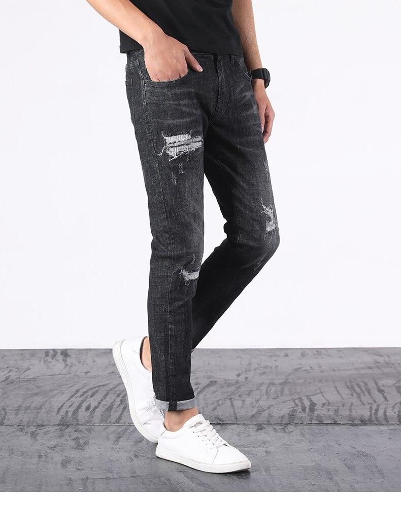 KSTUN Ripped Jeans Men Black Stretch Slim Fit Distressed Streetwear Hip Hop Casual Denim Pants Ankle Length Trousers 2020 Summer 13