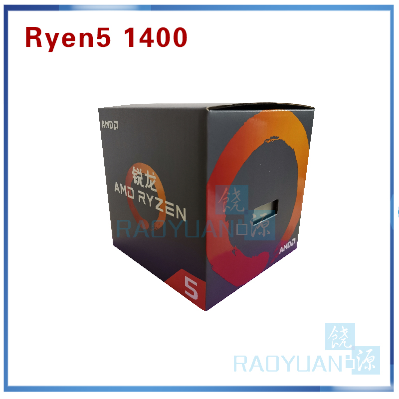 Image 2 - New AMD Ryzen 5 1400 R5 1400 R5 1400 3.2 GHz Quad Core CPU Processor YD1400BBM4KAE Socket AM4 with cooling fan-in CPUs from Computer & Office