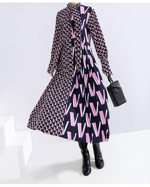 [EAM] Women Pattern Print Split Temperament  Dress New Bow Collar Long Sleeve Loose Fit Fashion Tide Spring Autumn 2021 19A-a872 5