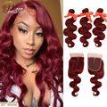 99J красные волнистые пряди с закрытием бразильские бордовые человеческие волосы волна 3 пряди с кружевной застежкой Pinshair Remy мягкие волосы