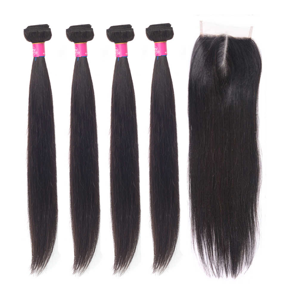 Beauty Grace Brazilian Hair Weave Bundles With Closure Human Hair Extension Remy 4 Bundles Straight Hair Bundles With Closure