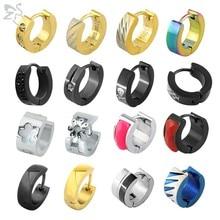 ZS-pendientes de aro de colores Punk para hombre y mujer, aretes redondos de cristal, Piercing para la oreja circular, joyería, accesorios, aros de moda