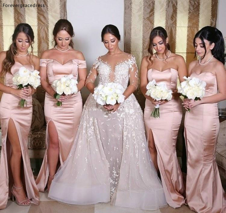 Cheap Off Shoulder Bridesmaid Dress Mermaid Long Split Garden Formal Wedding Party Guest Maid Of Honor Gown Plus Size