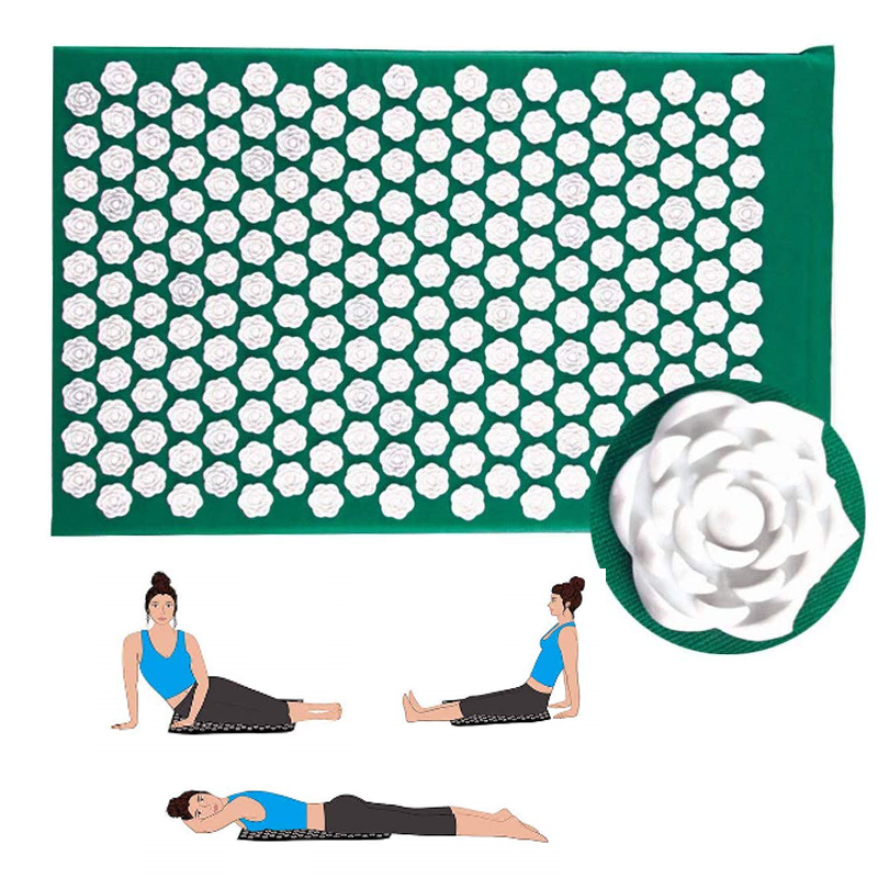 (Ship Now) Fitness Yoga Spiky Mat  Lotus Acupuncture Massage Mat Bed Pilates Cotton Yoga Cushion For Neck & Back Pain Relief