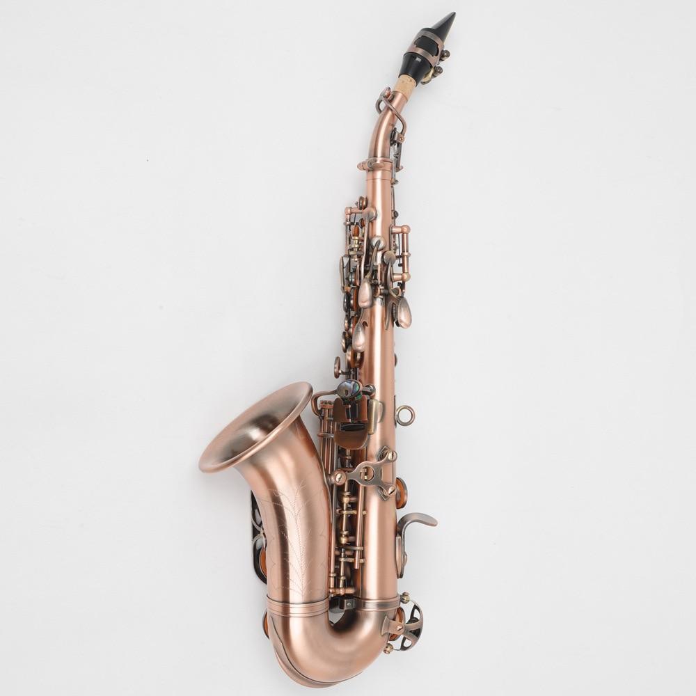 B плоский винтажный медный саксофон с тройным колено, Западный музыкальный инструмент 1
