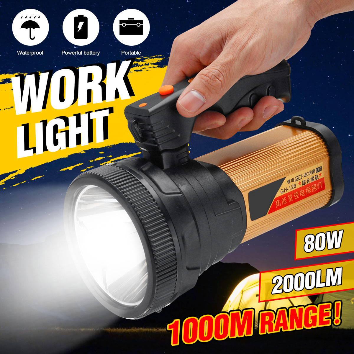 5000MAh 2000lm 80W LED Work Light Rechargeable Lamp Led Handheld Portable Flashlight Searchlight Lantern For Outdoor Camping