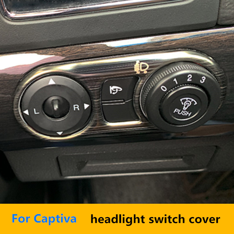 Black Titanium Wire Drawing Stainless Steel Headlight Switch Cover Frame 1pcs For Chevrolet Captiva 2007-2018 Accessories