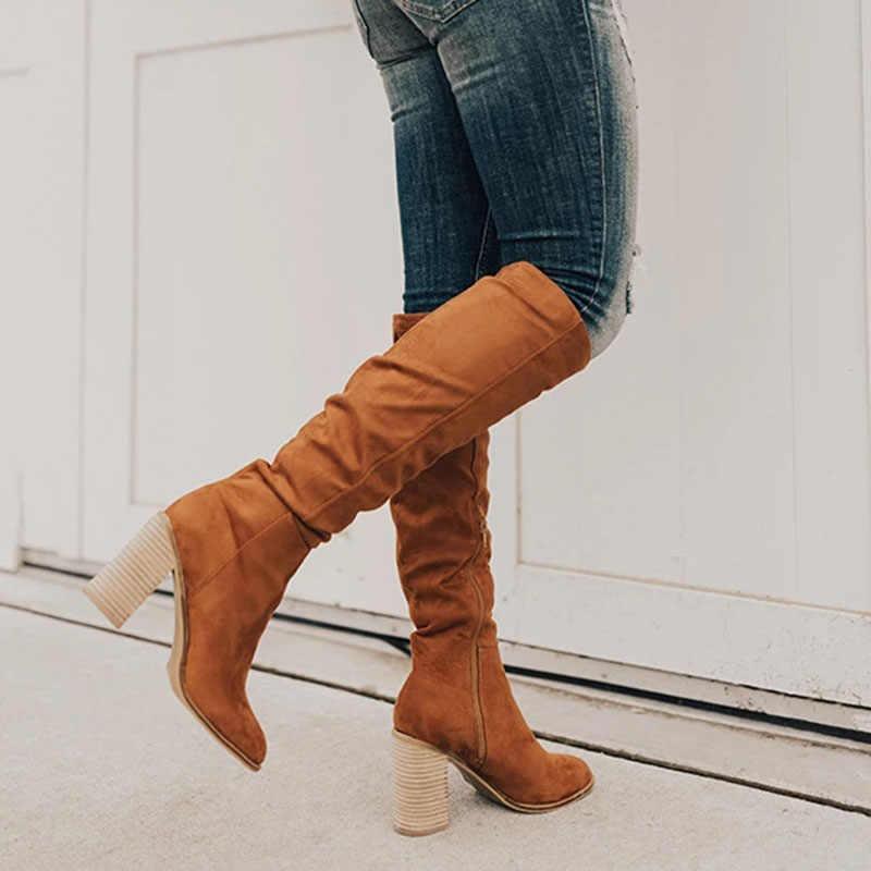 Kış çizmeler kadın kadın diz-yüksek çizmeler Lace Up seksi yüksek topuklu kadın ayakkabı dantel Up sıcak 2019 moda çizmeler