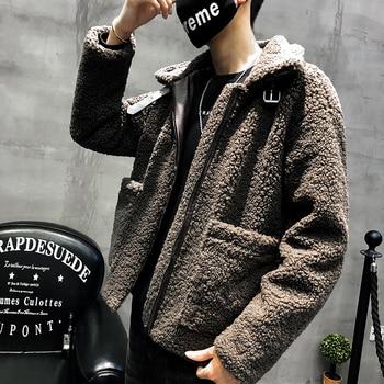 Winter Lamb Hair Jacket Men's Warm Thick Parka Men Fashion Solid Color Casual Plush Coat Man Streetwear Loose Cotton Jacket Male