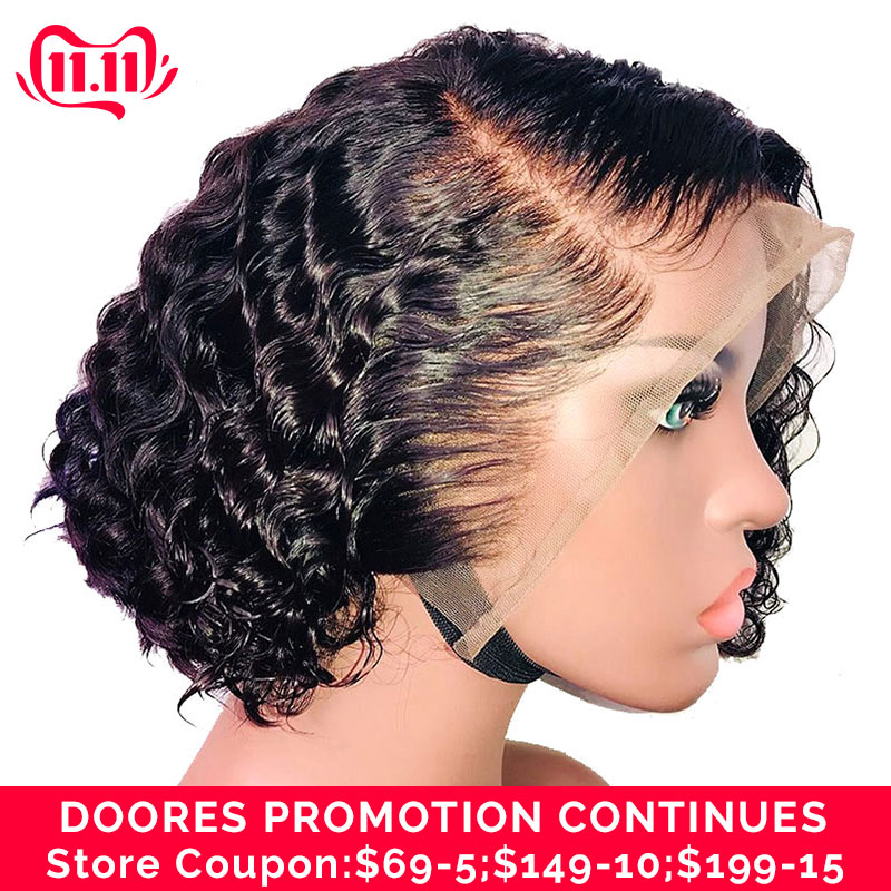 Doores Hair Lace Closure Wig Short Bob Lace Front Wigs 150% Lace Front Human Hair Wigs Curly Human Hair Wig Remy Fake Scalp Wig