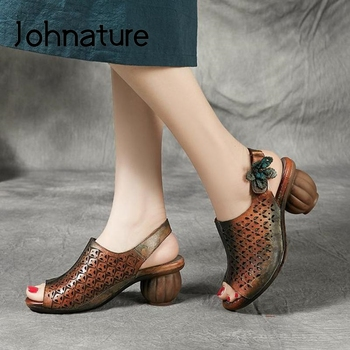 Johnature Retro Hook & Loop High Heels Sandals Women Shoes Genuine Leather 2020 New Summer Handmade Casual Platform Sandals