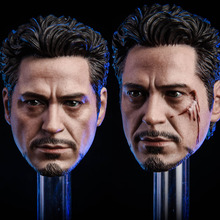цена на In Stock 1/6 Scale Male Head Sculpt MK5 Tony 2.0 Head Carved Model Normal/Damaged Version for 12'' Action Figure Body Accessory