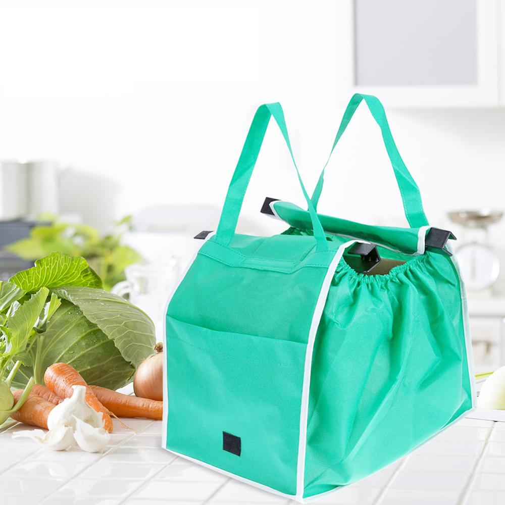 2pcs/set Eco-Friendly Foldable Reusable Shop Handbag Supermarket Thicken Trolley Shopping Cart Totes Portable Grocery Store Bags