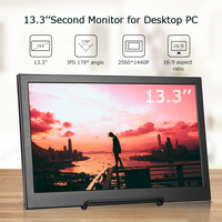 """Eyoyo EM13H 13.3"""" IPS 2K Portable Monitor pc Second LCD Screen 2560x1440 IPS gaming Monitor Display with HDMI For Raspberry Pi"""