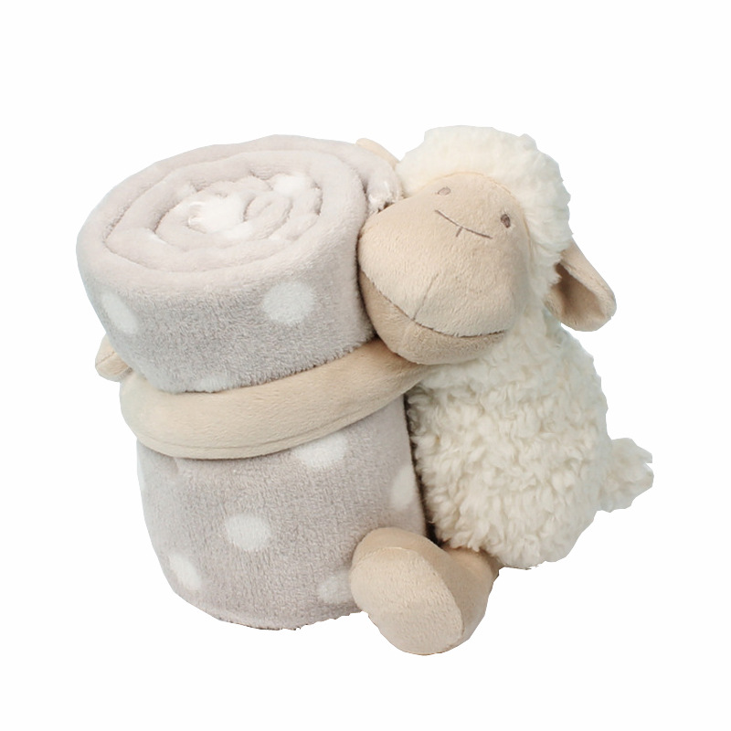 Baby Comfort Doll Sleeping With Companion Towel Doll Cute White Lamb Holding Blanket Baby Toy Plush Animal Kids Birthday Gift