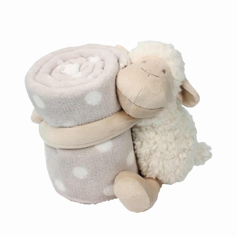 Przytulanka dla dzieci śpiąca z towarzyszem ręcznik lalka śliczna biała jagnięca trzymająca koc zabawka dla dziecka pluszowe zwierzę dla dzieci prezent urodzinowy