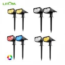 2 팩 LITOM 12 LED 태양 정원 빛 업그레이드 된 IP67 방수 램프 야외 2 조명 모드 2 in 1 조정 가능한 태양 스포트 라이트