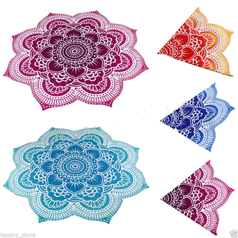 Flower Round Beach Pool Mat Scarf Home Shower Towel Blanket Table Cloth Yoga Mat