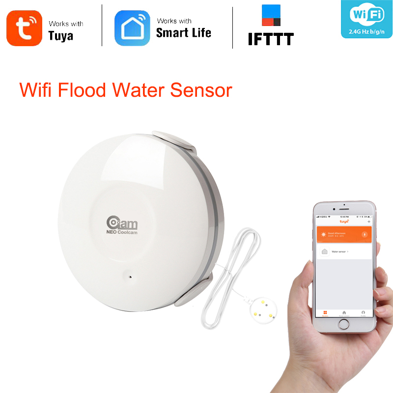 Coolcam Smart WiFi Water Sensor Wi-Fi Leak Detector Alarm Sensor App Notification Alerts Work Amazon Alexa Goole Assistant IFTTT