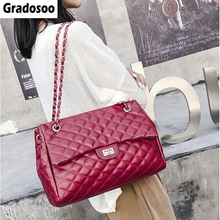 Gradosoo Thread Shoulder Bags Large Capacity Top-handle For Women Chain PU Leather Handbags Luxury Female LBF654
