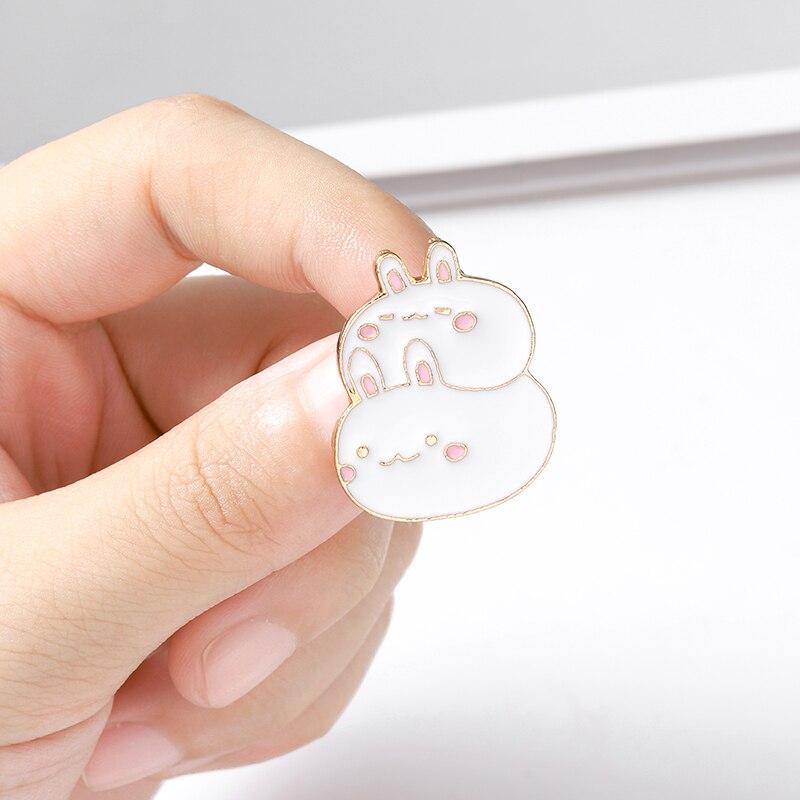 Fat Bunny Enamel Pins Custom Cute Stacked Rabbits Brooch Lapel Pin Shirt Bag Badge Cartoon Animal Jewelry Gift for Kids Friends 3