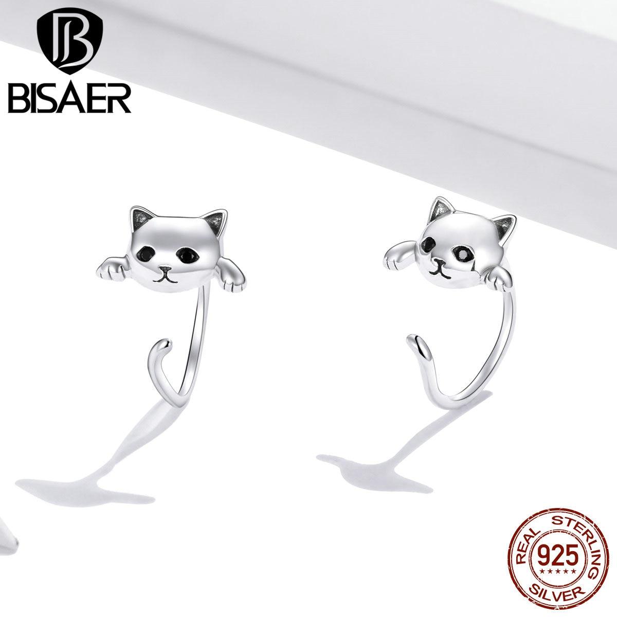 BISAER boucles d'oreilles 925 en argent Sterling mignon chat amour petit libre-Pick Design boucles d'oreilles pour les femmes en argent Sterling bijoux ECE965 2