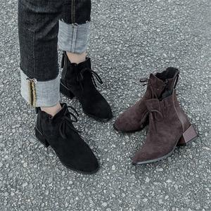 Image 3 - JIANBUDAN Outono Inverno moda das Mulheres ankle boots de Camurça Conforto Chelsea Botas quentes de Pelúcia feminino Escritório saltos altos 34 42
