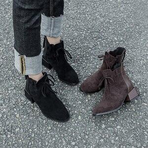 Image 3 - JIANBUDAN الخريف الشتاء المألوف المرأة حذاء من الجلد المدبوغ الراحة تشيلسي الأحذية أفخم الدافئة مكتب الإناث عالية الكعب 34 42