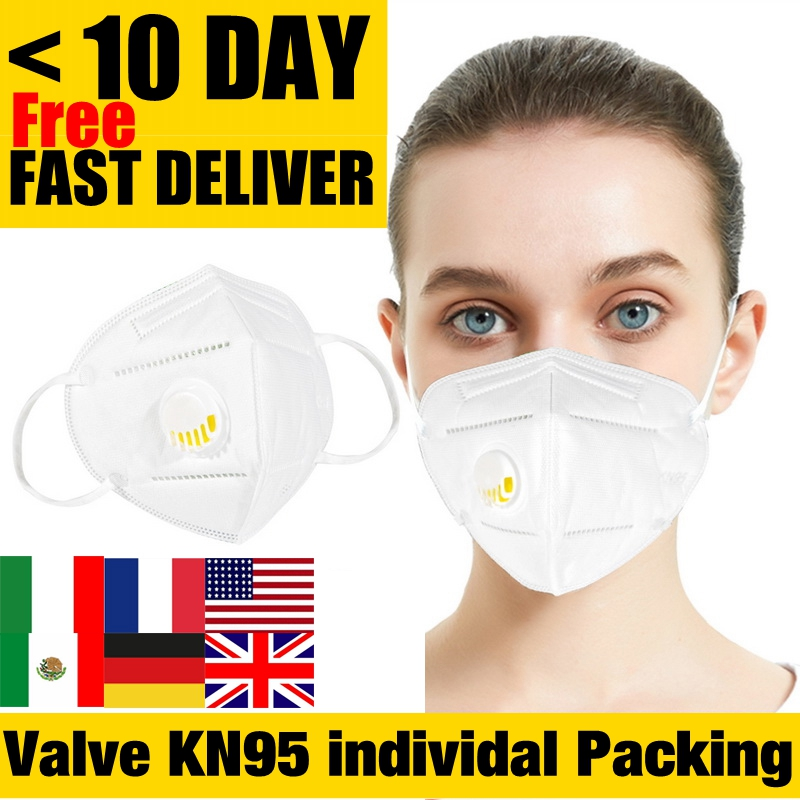 DHL UPS Fedex 24Hours Fast Shipping KN95 N95 Face Mask Mouth Filter With VALVE  Vent  Protective Respirator Reusable FFP2 FFP3