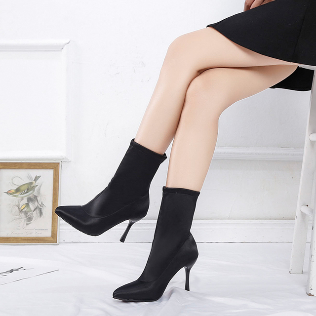 2019 Sock Boots Winter Comfortable Womens Ankle Booties Fashion High Heel Shoes Ladies Party Wedding Boots Sock Keep Warm Shoes