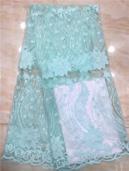 Water Green Sequins Nigerian Lace Fabric Dubai Embroidered French Tulle Lace Latest African Lace Fabric 2019  X8