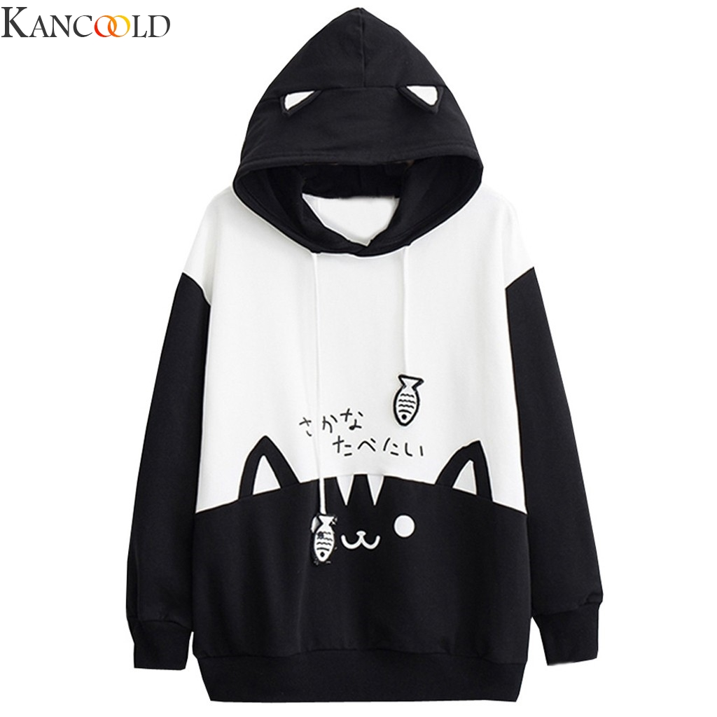 KANCOOLD Sweatshirt Sale Items Hoodies For Women Kawaii Casual Long Sleeve Kitty Cat Print Pocket Thin Blouse Top Shirt