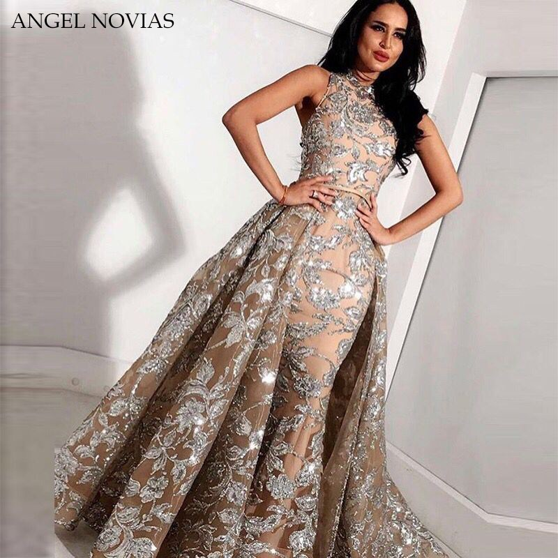 Long Grey Champagne Lace Mermaid High Neck Arabic Evening Dress 2020 Kaftan Dubai Formal Evening Gowns With Detachable Skirt