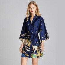 Plus Size Women Satin Dressing Gown Bride Floral Kimono Robe Bathrobe Sleepwear Robe Wedding Bathrobe Nightwear Nightdress 2020