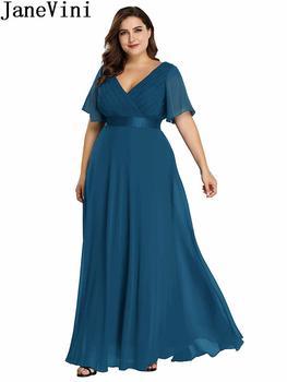 JaneVini Ladies Chiffon Long Mother of the Bride Dresses Plus Size Pleat Elegant Groom Mother Party Dress robe mere de la mariee 6