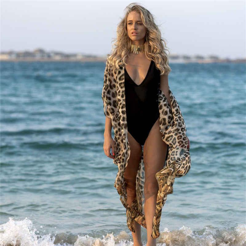 2020 leopardo sexy impreso manga de tres cuartos frontal abierto largo Kimono Cardigan de talla grande mujer ropa de playa blusa camisa N951