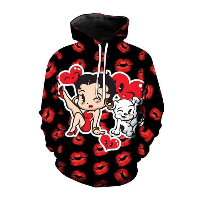 Betty Boop Hoodies Anime Cartoon Sexy Girl 3D Printed Sweatshirt Men Women Fashion Oversized Hoodie Harajuku Streetwear Clothing