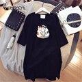 Женская ночная рубашка с принтом милого кота, белая ночная рубашка с коротким рукавом, Повседневная Свободная одежда размера плюс 4XL, Kawaii, од...