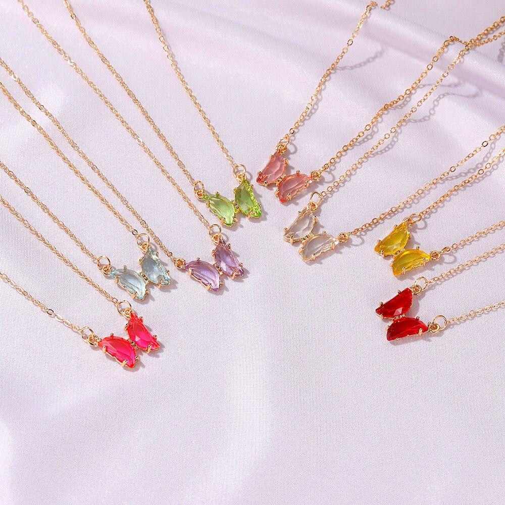 Милое прозрачное Стеклянное Ожерелье-бабочка для женщин, популярное корейское цветное ожерелье-бабочка, ювелирное изделие в стиле INS