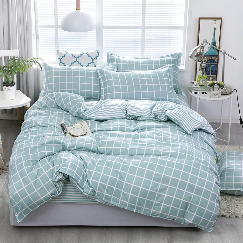 Plaid Light Green Linen Sheets | Plaid Green Sheet set