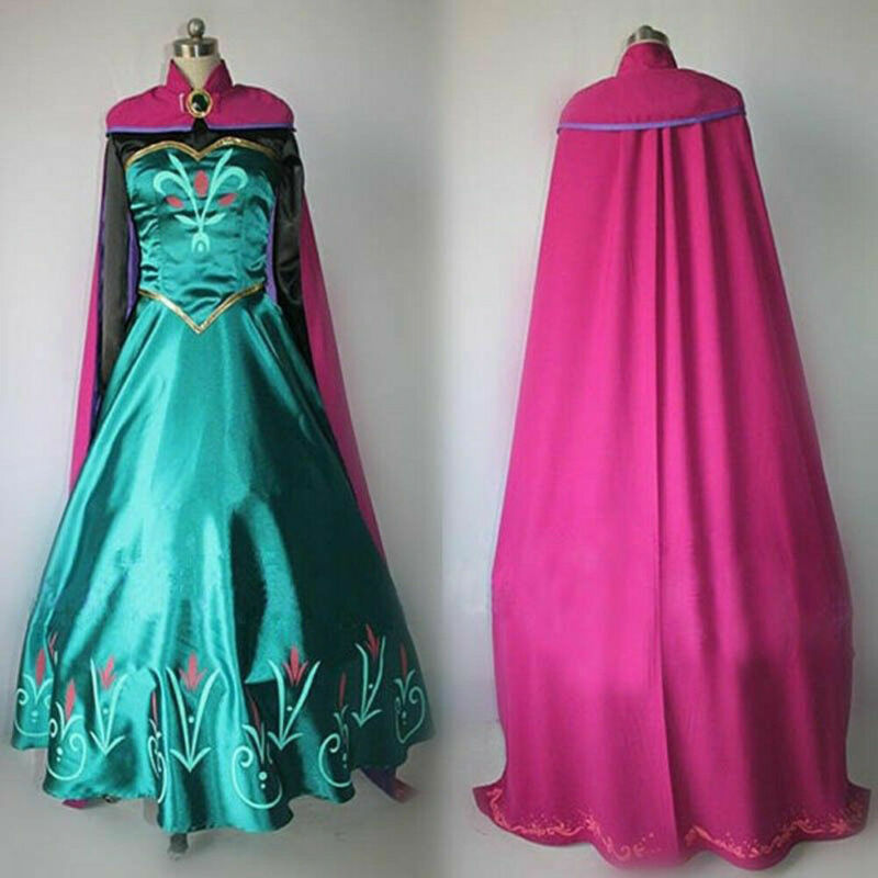 2 pcs 패션 성인 안나 코스프레 의상 할로윈 파티 멋진 드레스 복장 의상 크리스마스 파티 가운