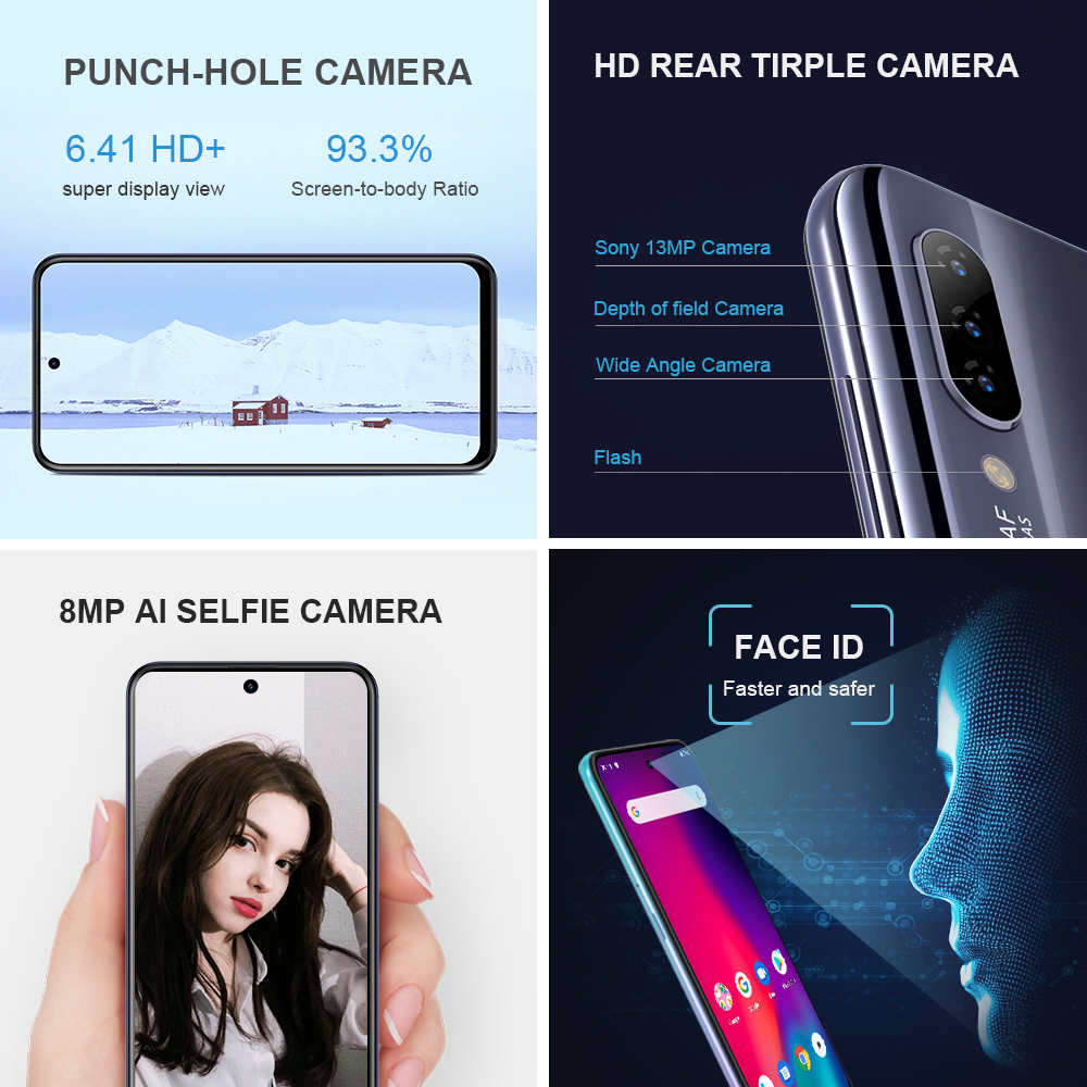Image 3 - HOMTOM P30 pro Android 9.0 4G Mobile Phone MT6763 Octa Core 4GB 64GB 4000mAh 6.41 inch Face ID 13MP+ Triple Cameras Smartphone-in Cellphones from Cellphones & Telecommunications