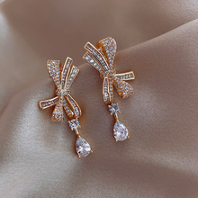 Hot Sale Korean Fashion Temperament Vintage Paved Crystal Bow Drop Earrings for Women Girl Daily Party Jewelry Gift 3S463