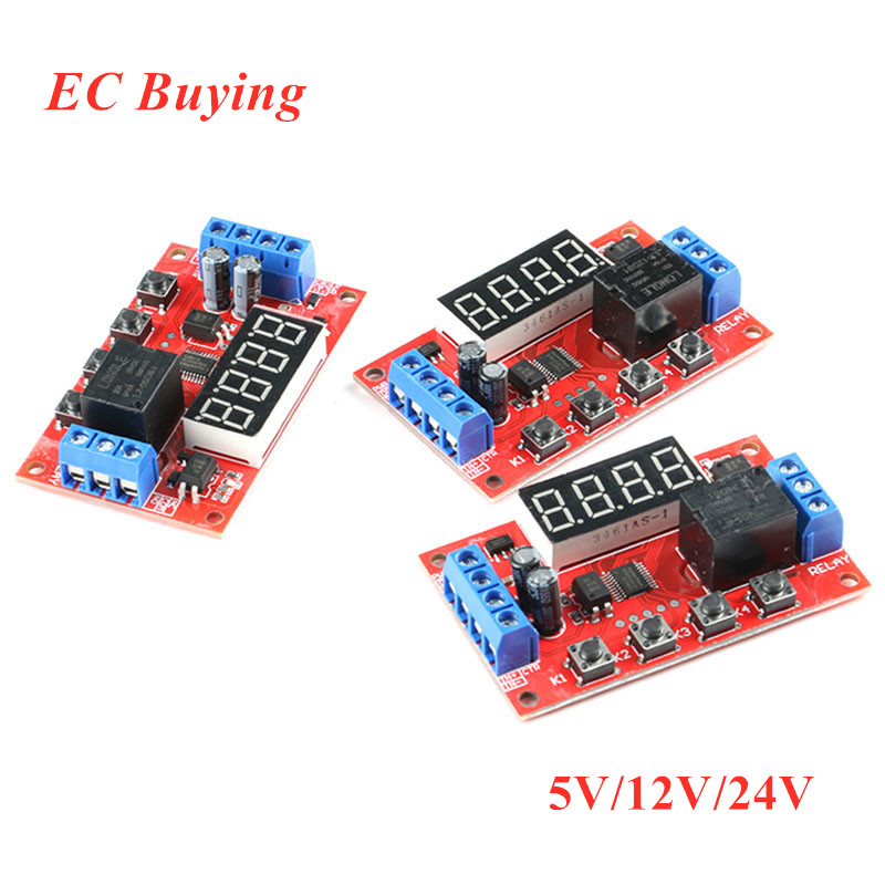 DC 5V <font><b>12V</b></font> 24V Time Delay Relay Module Adjustable Control Switch Trigger Time <font><b>LED</b></font> Digital Timming Relay Timer Cycle <font><b>Circuit</b></font> <font><b>Board</b></font> image