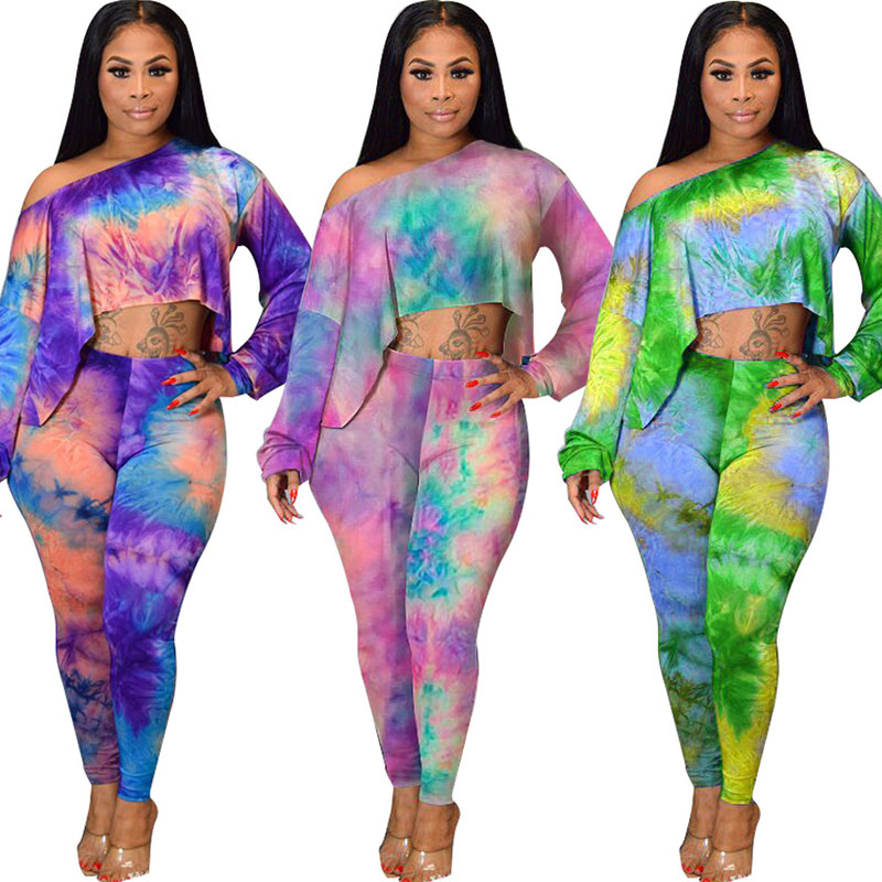 Echoine Tie Dye Print Floral <font><b>Sexy</b></font> Two <font><b>Pieces</b></font> Set Off Shouder Crop Top + Long <font><b>Pants</b></font> Clubwear <font><b>2</b></font> <font><b>Piece</b></font> <font><b>Outfits</b></font> <font><b>For</b></font> <font><b>Women</b></font> image