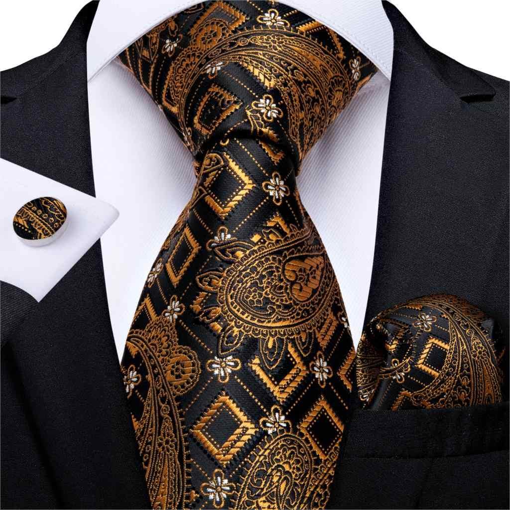 هدية الرجال التعادل الذهب الأسود مخطط بيزلي الحرير الزفاف التعادل للرجال ديبانجو تصميم Hanky أزرار أكمام جودة الرجال التعادل مجموعة دروبشيبينغ