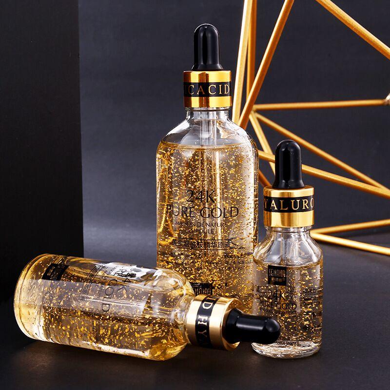 24k Gold Hyaluronic Acid Face Serum Moisturize Shrink Pores Brighten Improve Fine Lines Lifting Firming Amide Face Essence Skin